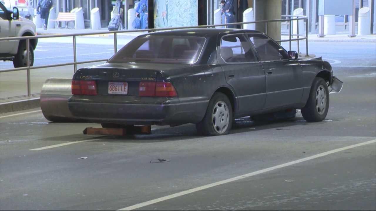 Car jumps curb, hits 3 people at Logan
