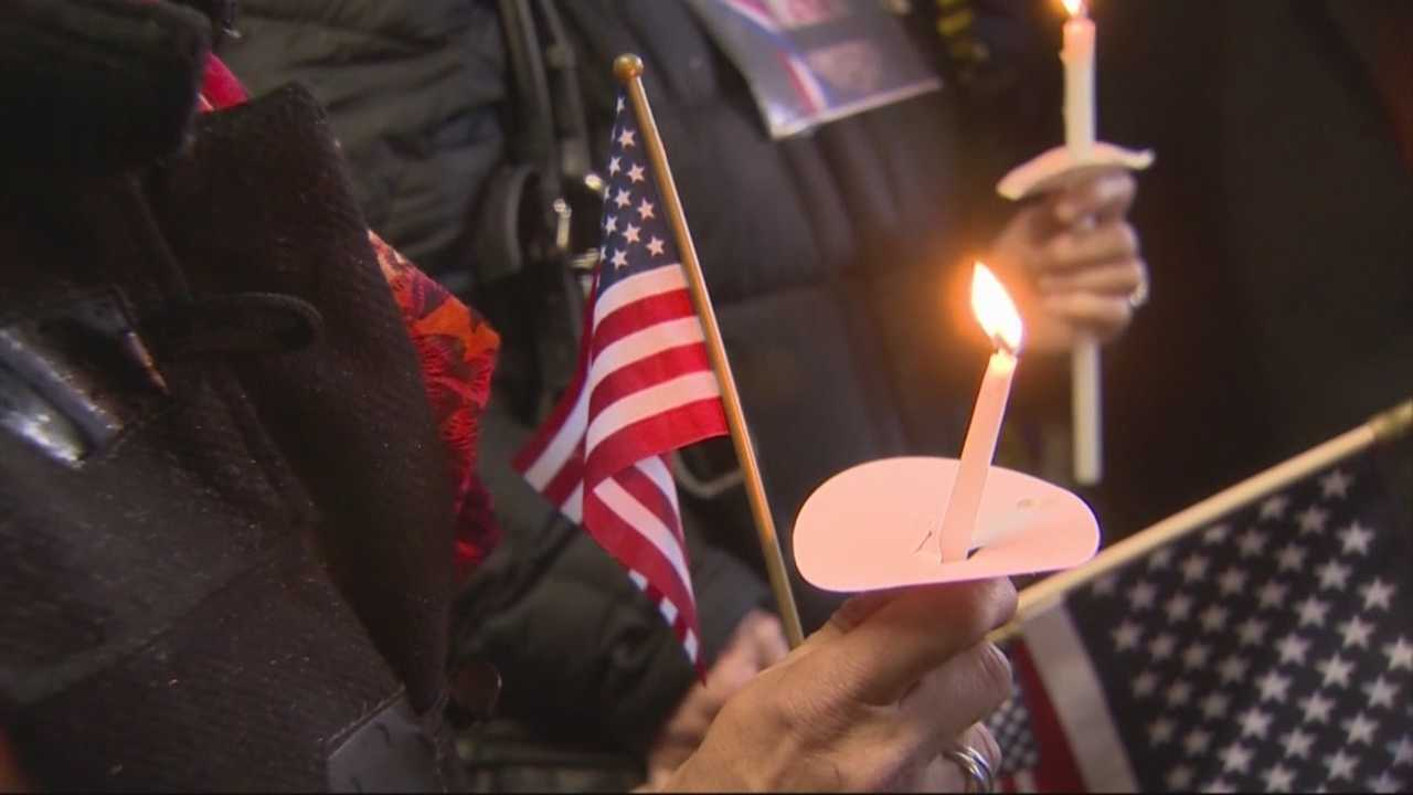 Hundreds filled the small fire house on Centre Street to honor two fallen firefighters who called this Boston neighborhood home.