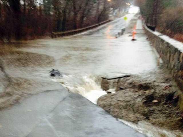 A sinkhole closed Wyman Street in Waltham.
