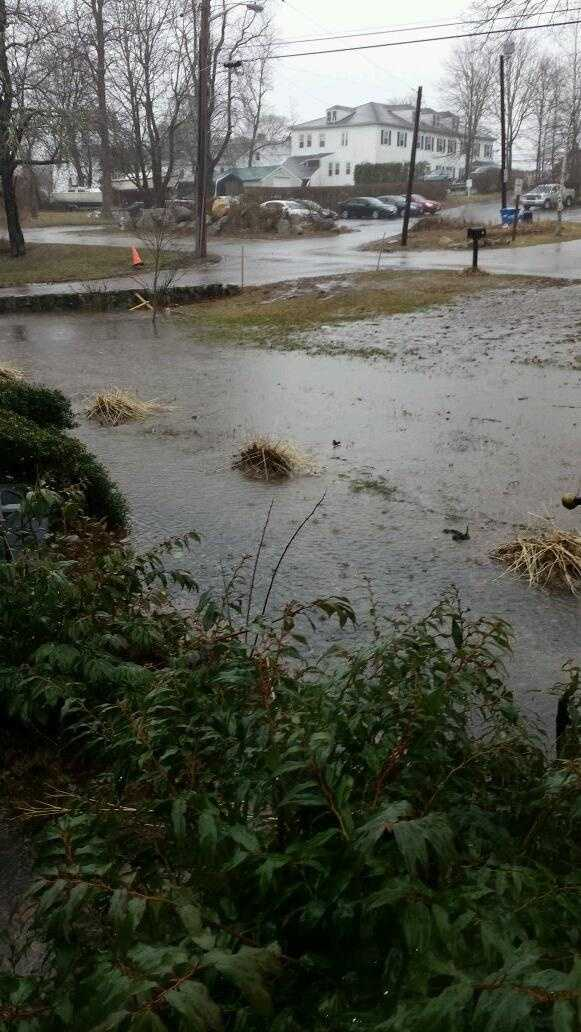 A flooded lawn in Wareham.