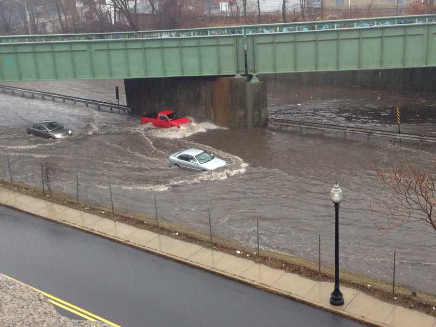 Flooding on Route 18 in New Bedford.