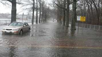 Flooding at Buttonwood Park in New Bedford.