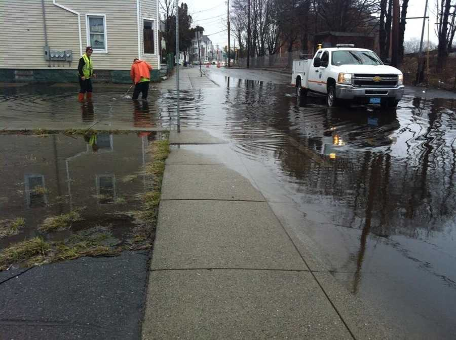 Flooding on Coggeshall Street in New Bedford.