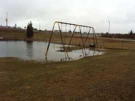 Flooding also hit a play area on Washburn Sreet in New Bedford.