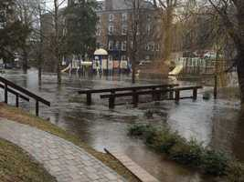 Flooding on a playground in Peace Dale, R.I.
