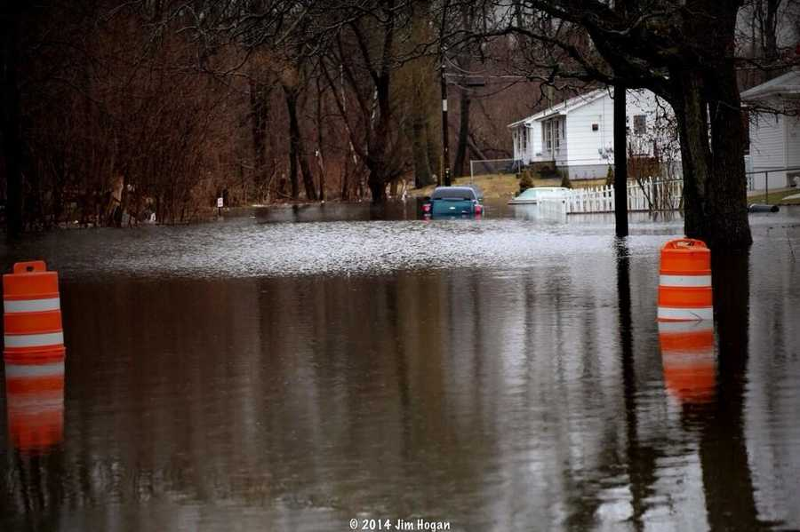 Flooding on Wentworth Avenue in Lowell Monday morning.