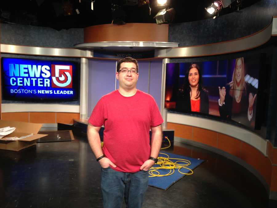 WCVB technical director Chip Potito is helping directors test lighting and camera angles for the new monitors.