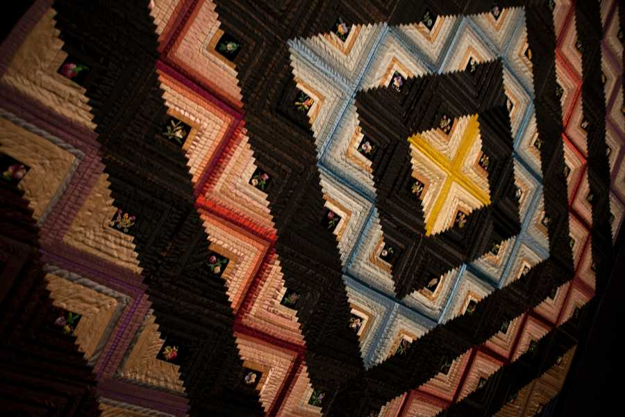Log Cabin, Bam Raising Variation Quilt, 1879, Mrs. Herrick