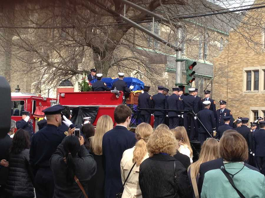 Lt. Walsh's casket atop Engine 33