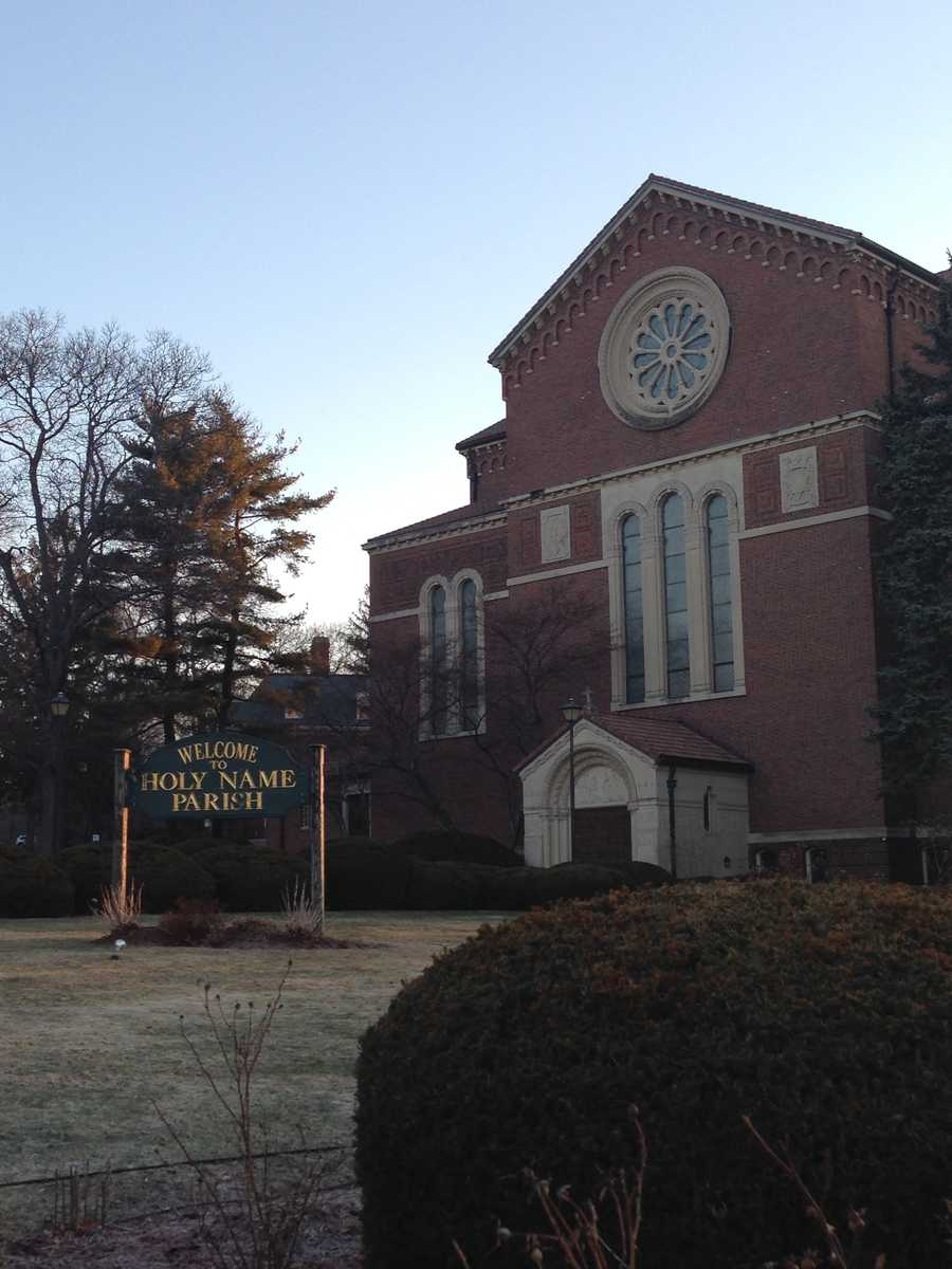 The funeral service at Holy Name Church in West Roxbury