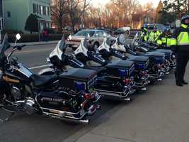 The motorcycle escort for the funeral