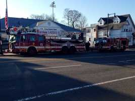 Ladder 15 and Engine 33 get in place for Kennedy's funeral procession