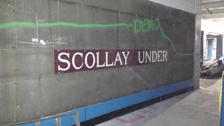 """100-year-old """"Scollay Under"""" mosaics were uncovered by Massachusetts Bay Transportation Authority construction crews."""