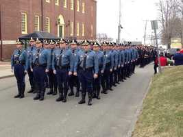 Massachusetts State Police led by Colonel Tim Alben at Maloney's wake.
