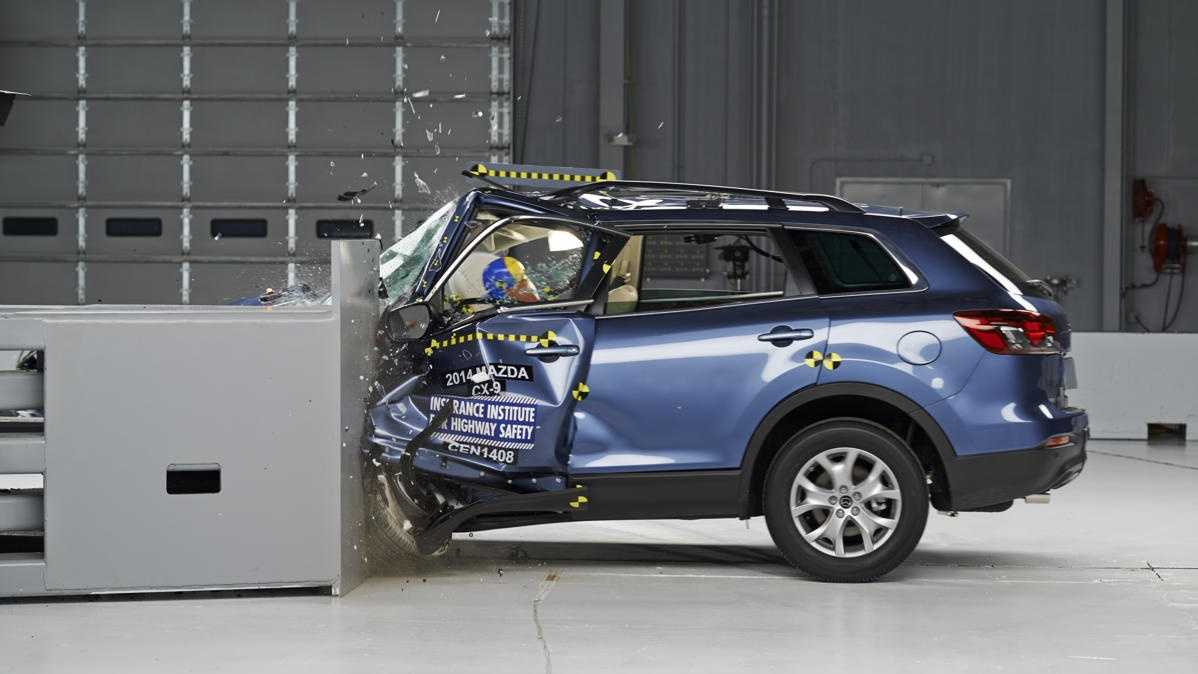 The Mazda CX-9 in its offset crash test. It was graded poor by the IIHS. Read more about the test results.