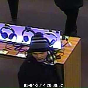 Theft - Case No. 140190March 03, 2014Burlington : Burlington MallCase Details:Looking to identify the pictured male suspect in a theft of an iPad. If anyone has any information on identification please contact either Detective Matthew Leary or Officer John Lynch.If you have any information about the identity of this person or where they are, please contact:Burlington Police Department: (781) 238-4636Investigator: Officer LearyCase Submission No.: 140190
