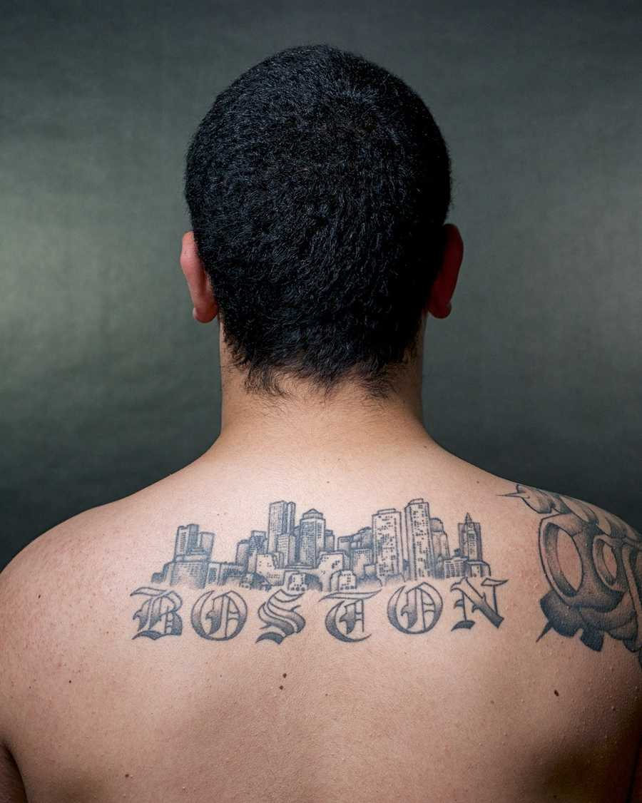 Patrick Neil's tattoo depicts the view of Boston he remembers from childhood.