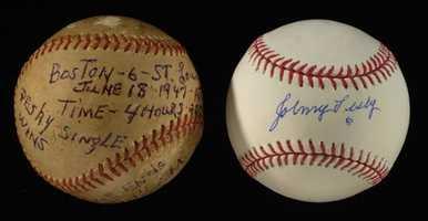 June 18, 1947 Johnny Pesky Game Winning Hit baseball.