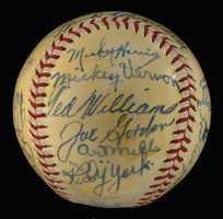 1946 American League All-Star team autographed baseball.