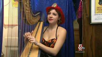 Deborah Henson Conant, well known for her flamboyant artistry as a Harpist.