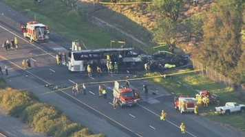 Just after 5:40 p.m., the tour bus collided with a FedEx truck in Orland near Highway 32, police said.