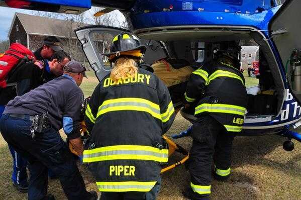 The injured man was airlifted to the hospital.