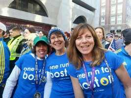 """Thousands of people decked out in """"Boston Strong"""" gear showed up at the marathon finish line Saturday morning for a historic Sports Illustrated cover shoot."""