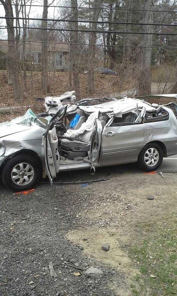 The driver of a minivan hit by the falling debris was more seriously injured, police said.
