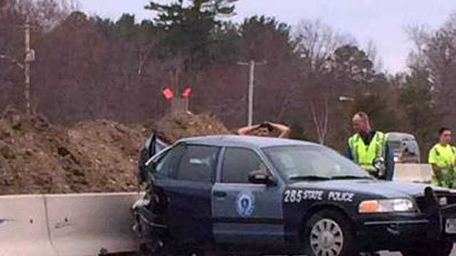 A Massachusetts State police cruiser was involved in a crash in Amesbury Monday.