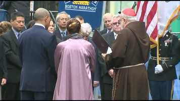 Gov. Deval Patrick and his wife, Diane, stand next to Cardinal Sean O'Malley.