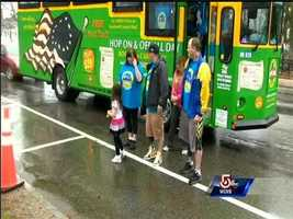 The Norden brothers arrive in Hopkinton to walk to Boston.