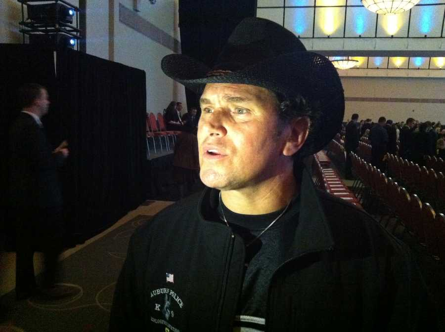 Carlos Arredondo, who helped rescue victim Jeff Bauman, arrives for the tribute.