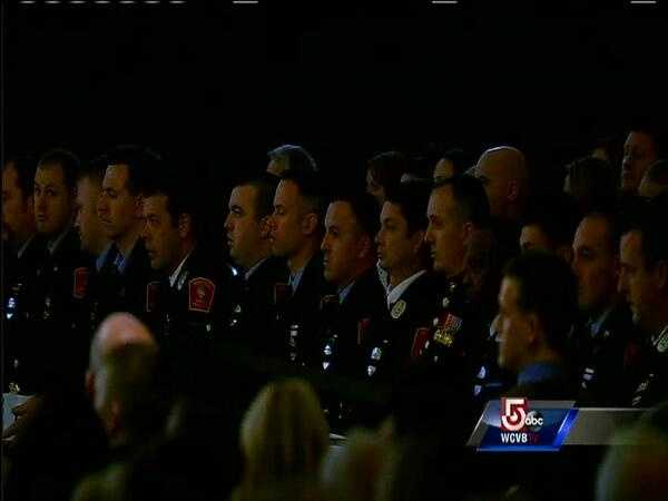 First responders stood to be recognized.