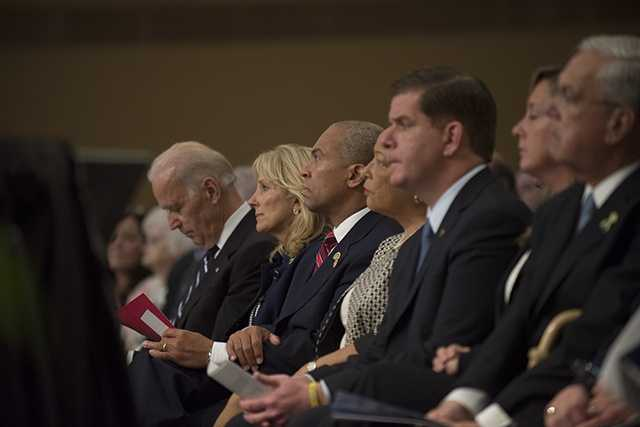 Vice President Joe Biden, his wife Jill, Gob. Deval Patrick and his wife, Diane, and Mayor Marty Walsh.