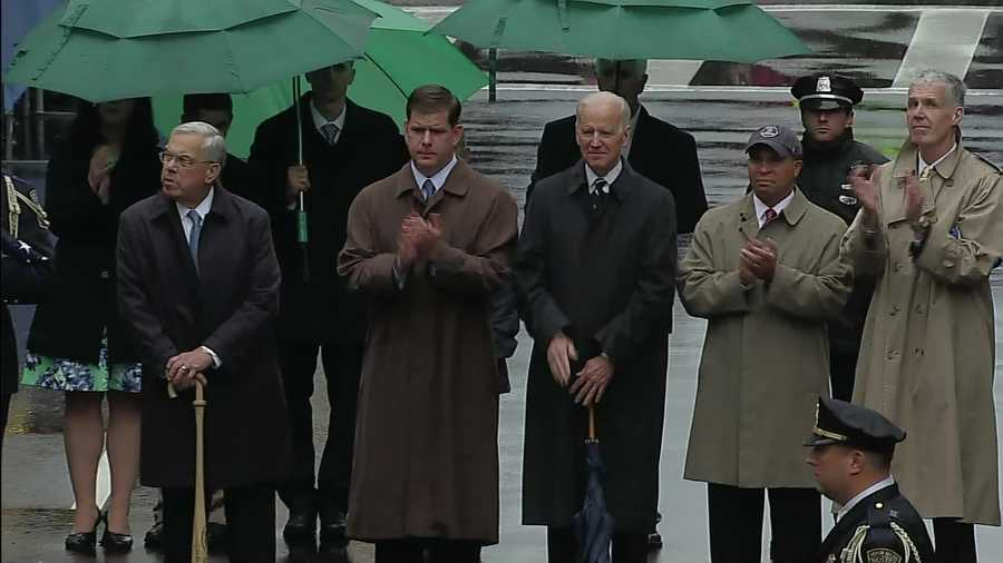 Former Mayor Thomas Menino, Mayor Marty Walsh, Vice President Joseph Biden and Gov. Deval Patrick.