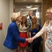 Brigham & Women's Hospital President Dr. Betsy Nabel greets Marathon survivor and BWH patient, Heather Abbott.