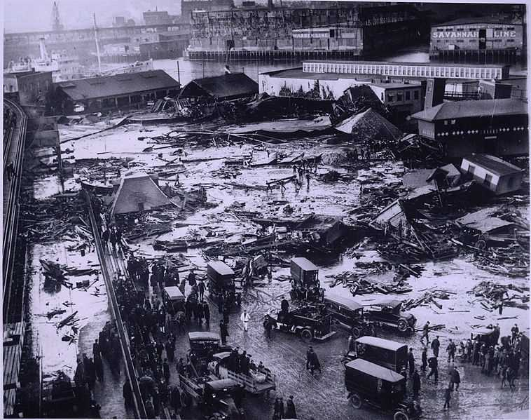 On January 15, 1919, the Boston Molasses Disaster occurred in the North End. Twenty-one people were killed and another 150 injured as hot molasses crushed, asphyxiated, and cooked many of the victims to death. It took over six months to remove the molasses from the cobblestone streets, theaters, businesses, automobiles, and homes. Boston Harbor ran brown through the summer.