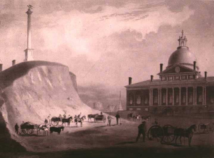 Beginning in 1807, the crown of Beacon Hill was used to fill in a 50-acre mill pond that later became the Haymarket Square area.