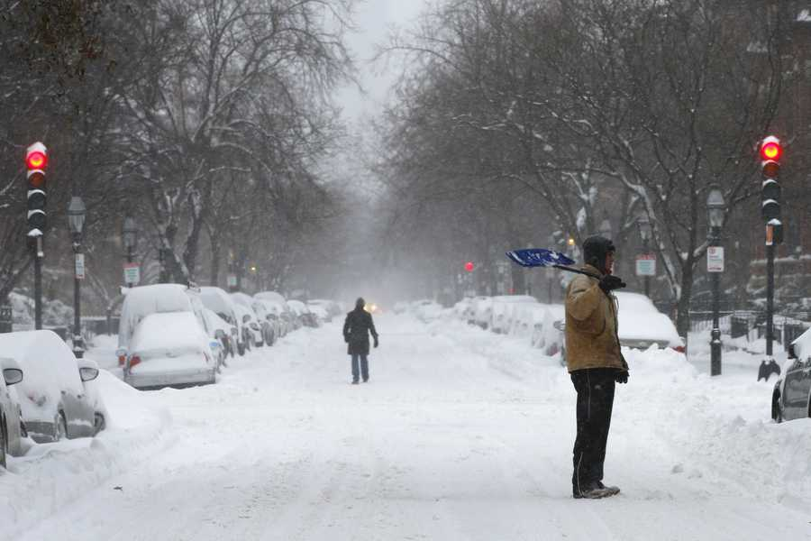 The most snow -- 27.5 inches -- fell in Boston on February 17 and 18, 2003.