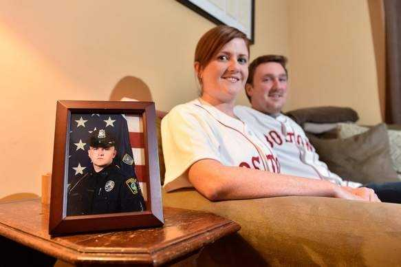 Jen Lemmerman, pictured with her husband John, has participated in several tributes to her late brother, MIT Officer Sean Collier, including a Fenway Park ceremony with past and present Red Sox.