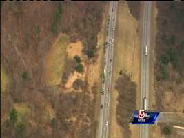 The search was taking place just south of Exit 6, a short distance away from the southbound lanes of the highway.