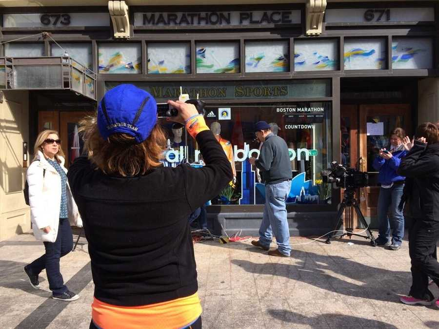 Marathon Sports, across from the Boston Marathon finish line, continues to be a popular spot for tourists visiting the city.
