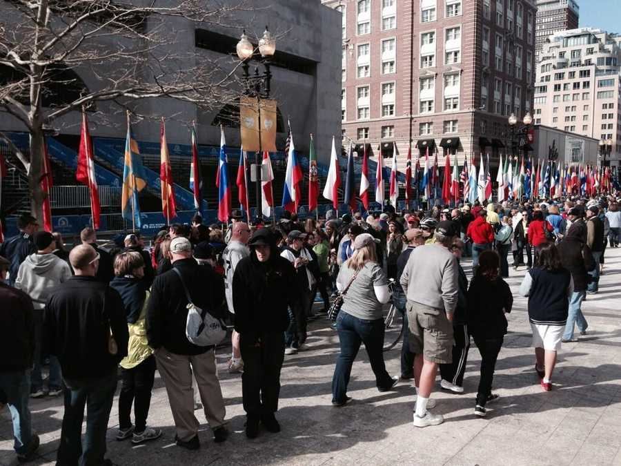 Fans are gathering at the finish line of the Boston Marathon.