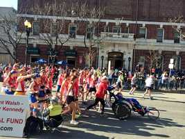 Dick and Rick Hoyt crossed the finish line for the final time today.  They previously announced this would be the last marathon the team would participate in.
