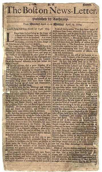 1704: The first regularly issued American newspaper, The Boston News-Letter, was published in Boston.