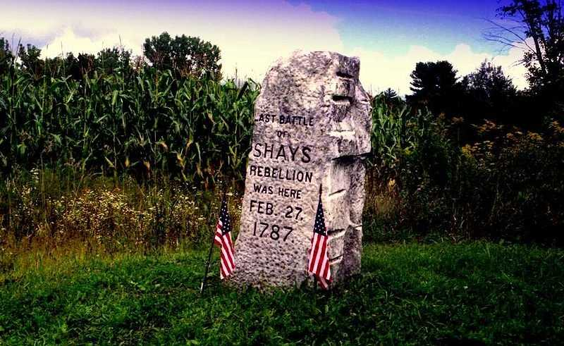 1785: Shay's Rebellion: Daniel Shay led a rebellion by farmers protesting excessive taxes, oppressive governmental systems and unfair laws and treatment of working people.