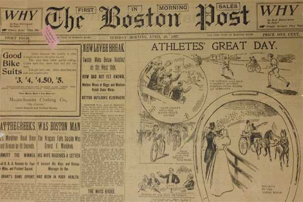1897: April 19, 1897 was the first Boston Marathon. The race was run from Boston to Ashland and the starting field was 15 runners. John J. MacDermott of New York emerged the winner.