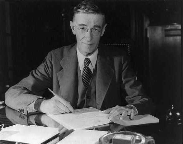 """1928: The first computer, a non-electronic """"differential analyzer,"""" was developed by Dr. Vannevar Bush of MIT in Cambridge."""