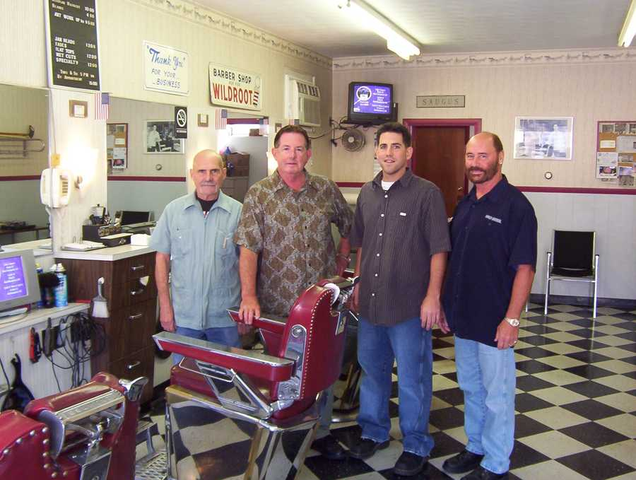 """George's Barber shop in Saugus advertises itself as """"America's Oldest Barber Shop."""" It was founded in 1902."""
