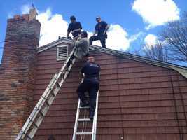 Milford police said the man was working on the roof on a home on Sunnyside Lane when he fell from a ladder.